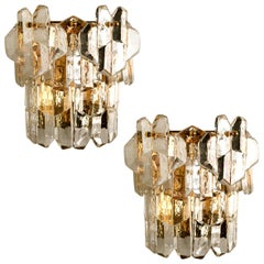 Pair of J.T. Kalmar 'Palazzo' Wall Light Fixtures Gilt Brass and Glass, 1970s