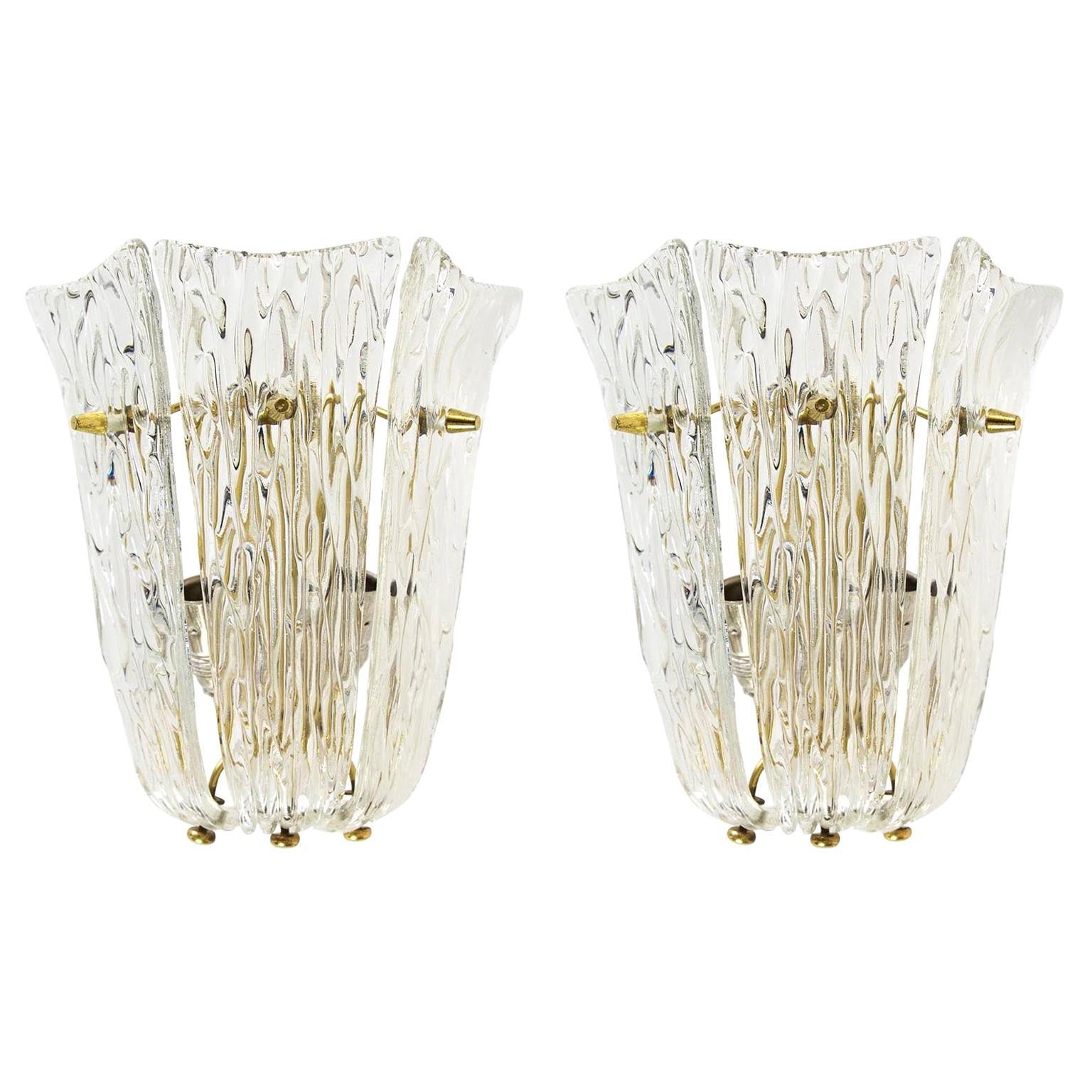 Pair of J.T. Kalmar Sconces Wall Lights, Brass Textured Glass, 1960