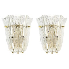 Pair of J.T. Kalmar Sconces Wall Lights, Brass Textured Glass, 1960
