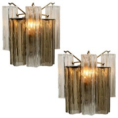 Pair of J.T Kalmar Smoked and Clear Glass Wall Lights, Austria, 1960