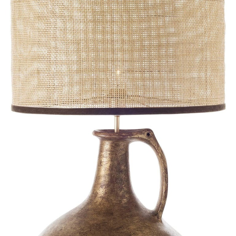 Patinated Pair of Jug Ceramic Table Lamps For Sale