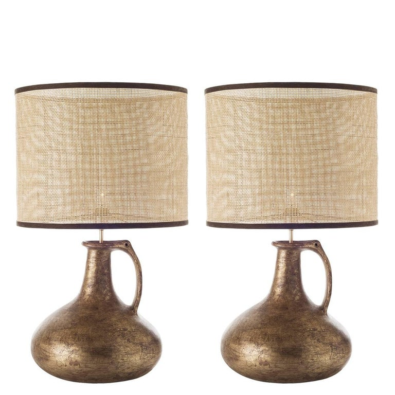 Pair of Jug Ceramic Table Lamps For Sale