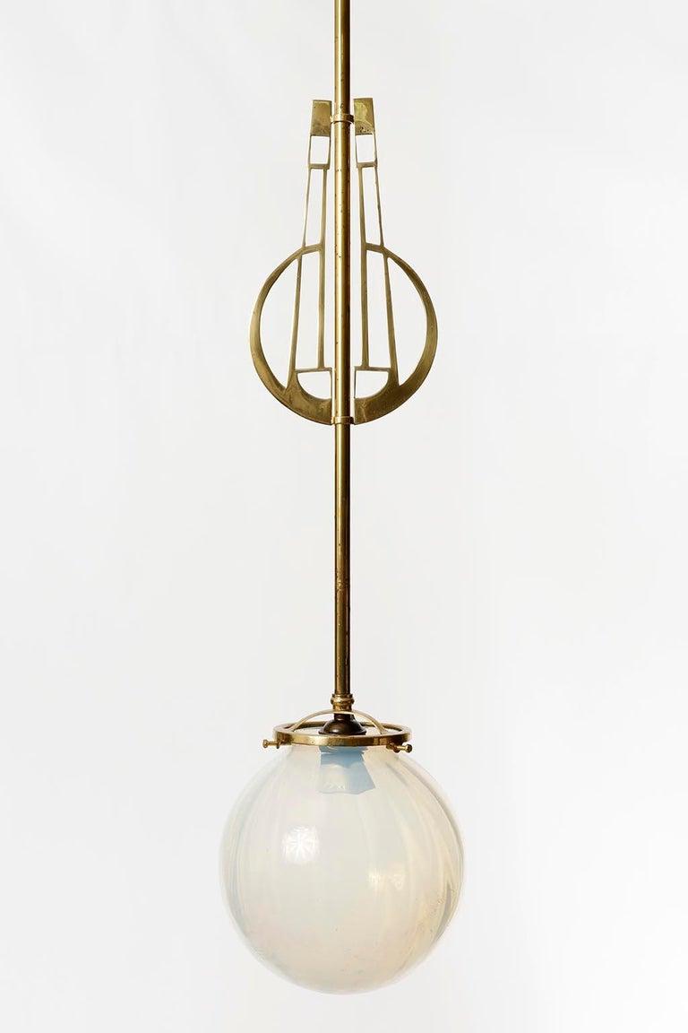 Austrian Pair of Jugendstil Pendant Lights, Brass Glass, Vienna, Austria, circa 1905 For Sale