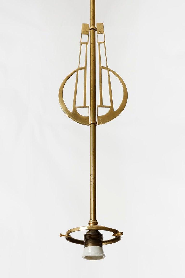 Pair of Jugendstil Pendant Lights, Brass Glass, Vienna, Austria, circa 1905 In Good Condition For Sale In Graz, AT