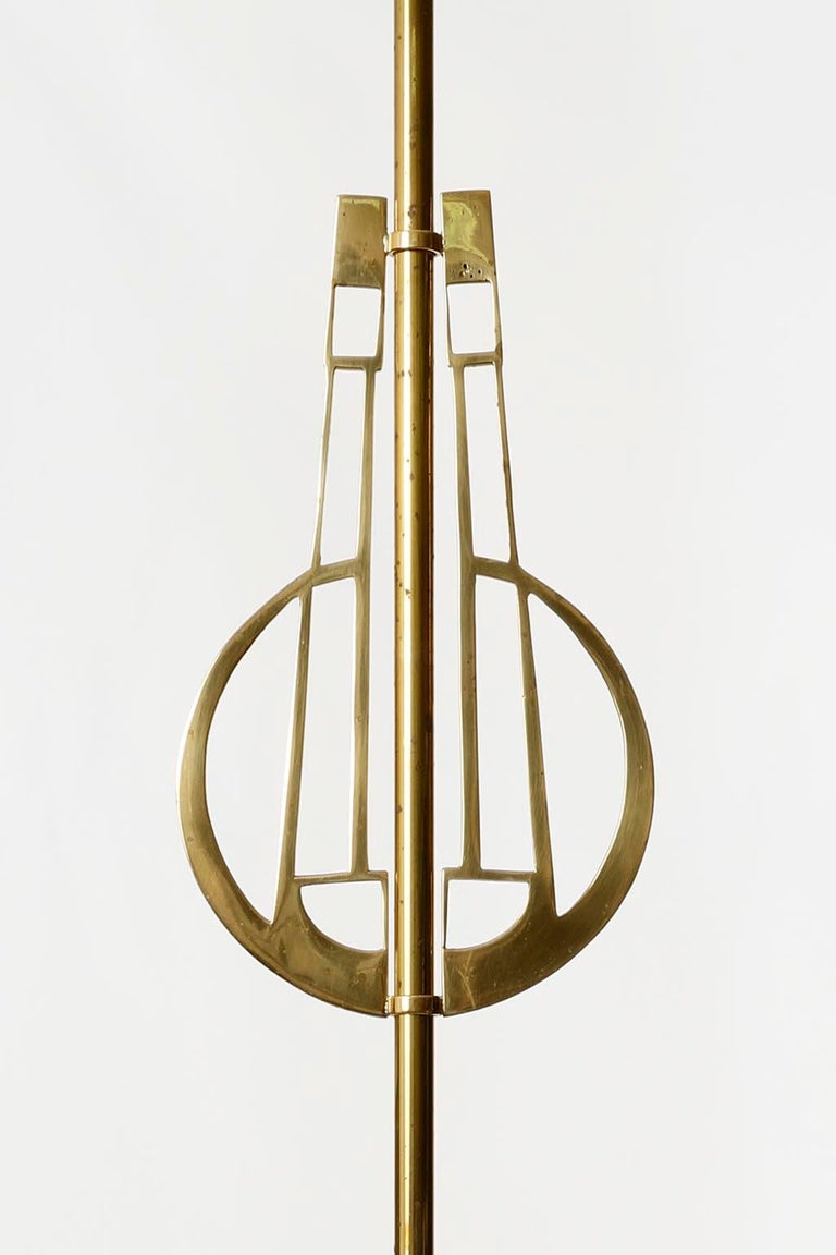 Early 20th Century Pair of Jugendstil Pendant Lights, Brass Glass, Vienna, Austria, circa 1905 For Sale
