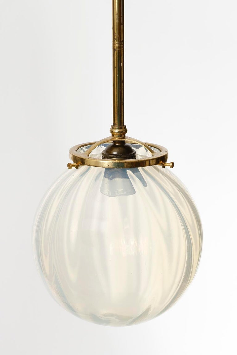 Pair of Jugendstil Pendant Lights, Brass Glass, Vienna, Austria, circa 1905 For Sale 2