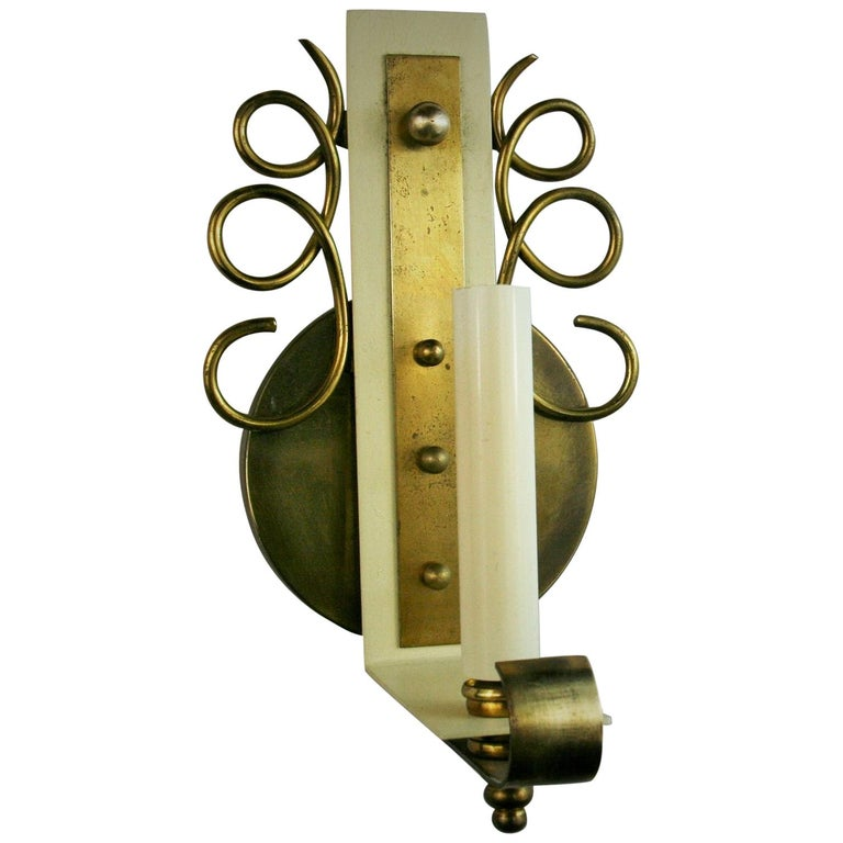 Pair of Jules Leleu Brass Sconces For Sale