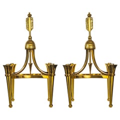 "Pair of ""Jules Leleu"" Bronze Chandeliers, French, circa 1940s"