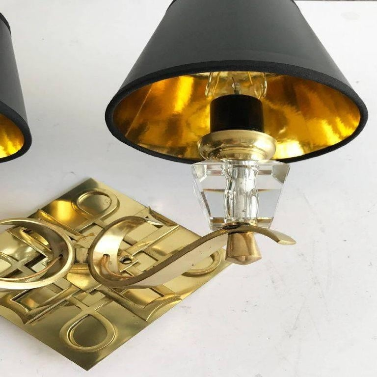 Mid-Century Modern Pair of Jules Leleu Style Bronze Sconces, 2 Pairs Available For Sale