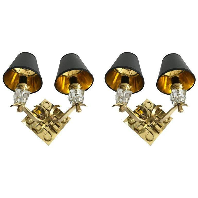 Pair of Jules Leleu Style Bronze Sconces, 2 Pairs Available