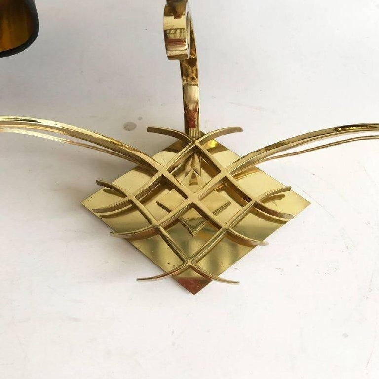 Mid-Century Modern Pair of Jules Leleu Style Bronze Sconces For Sale