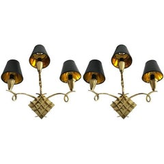 Pair of Jules Leleu Style Bronze Sconces