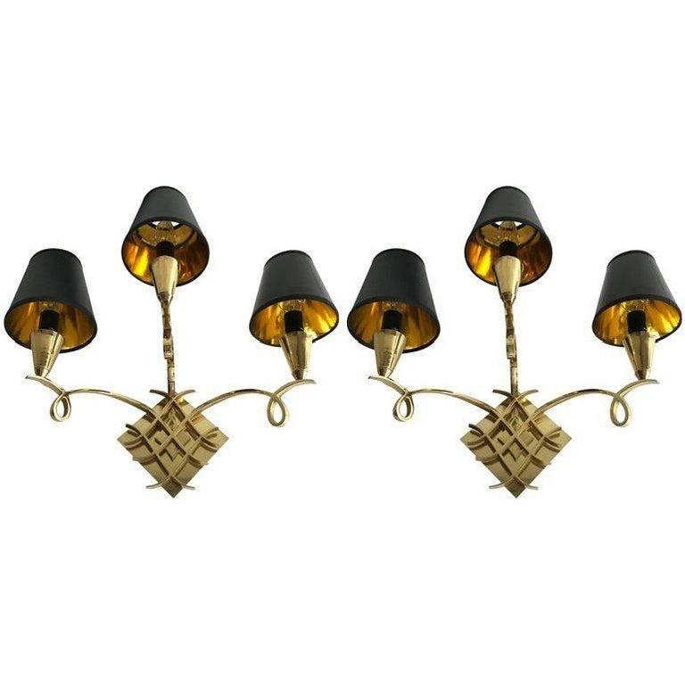 Pair of Jules Leleu Style Bronze Sconces For Sale
