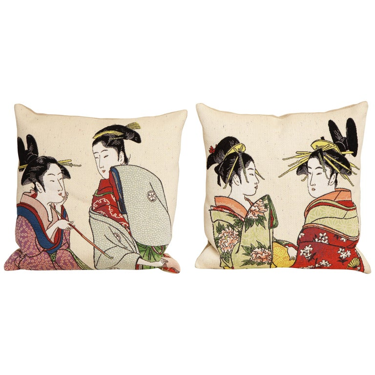 Pair of Jules Pansu Four Japanese Women Tapestry Square Pillows For Sale
