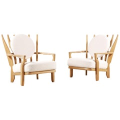 "Pair of ""Juliette"" Oak Armchairs by Guillerme and Chambron, 1950s"