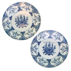 Pair of Jumbo 18th Century Delft Blue and White Chargers
