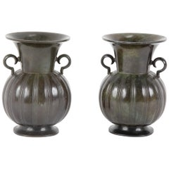 Pair of Just Andersen Disko Metal Patinated Vases