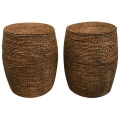 Pair of Jute Wrapped Wood Garden Seats