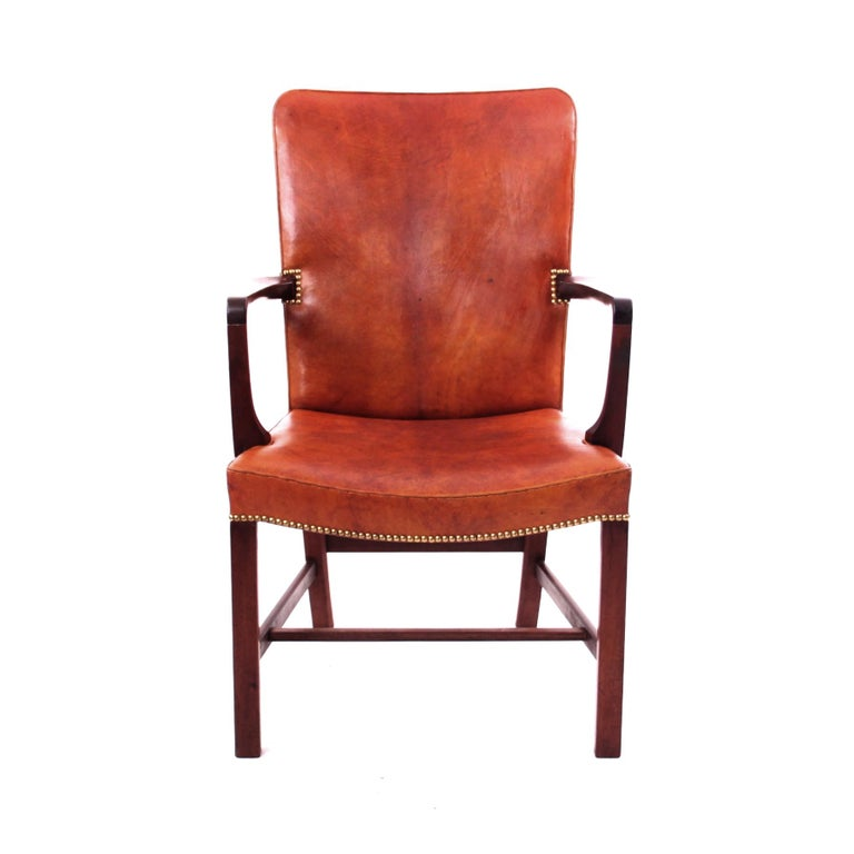 KAARE KLINT & RUD RASMUSSEN   -   SCANDINAVIAN MODERN DESIGN  A magnificent pair of Kaare Klint 'Nørrevold' armchairs in Nigerian leather, model no. 5999. This is the largest chair in the series of
