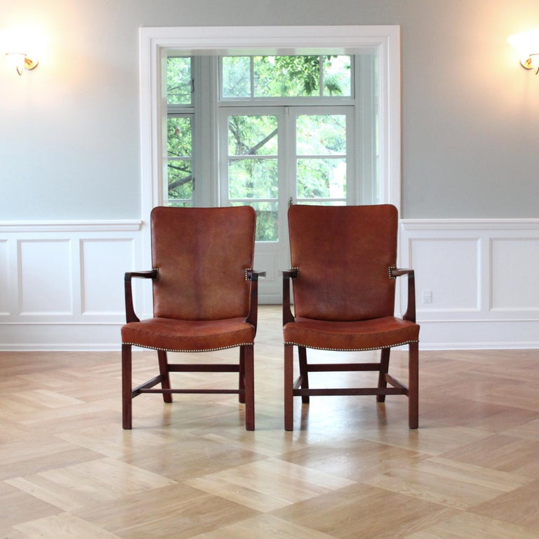Scandinavian Modern Pair of Kaare Klint 'Nørrevold' Armchairs in Patinated Niger Leather For Sale