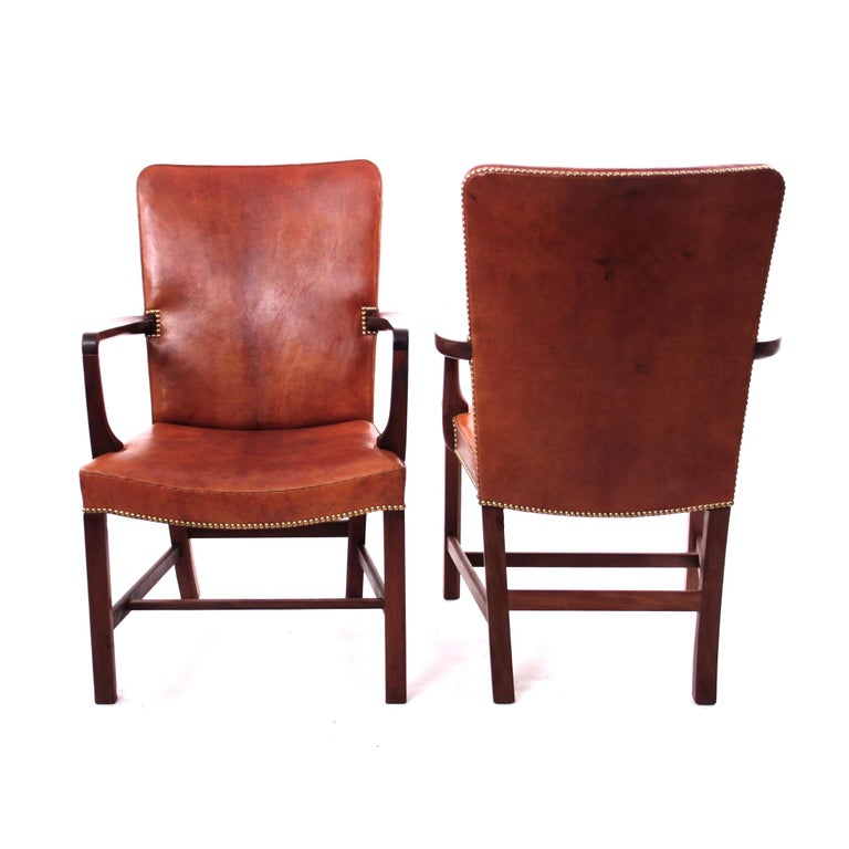 Danish Pair of Kaare Klint 'Nørrevold' Armchairs in Patinated Niger Leather For Sale