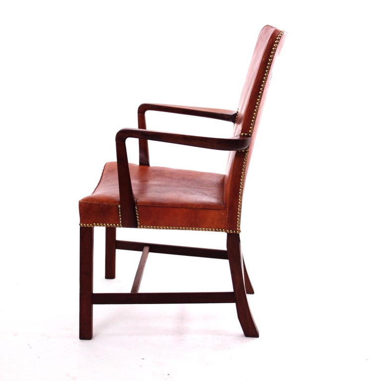 Pair of Kaare Klint 'Nørrevold' Armchairs in Patinated Niger Leather For Sale 1