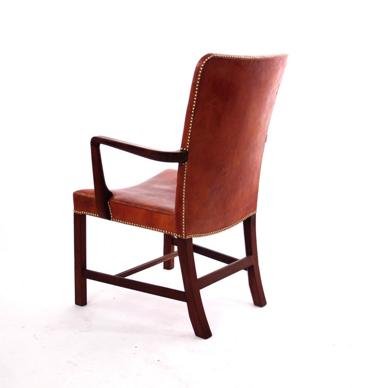 Pair of Kaare Klint 'Nørrevold' Armchairs in Patinated Niger Leather For Sale 2