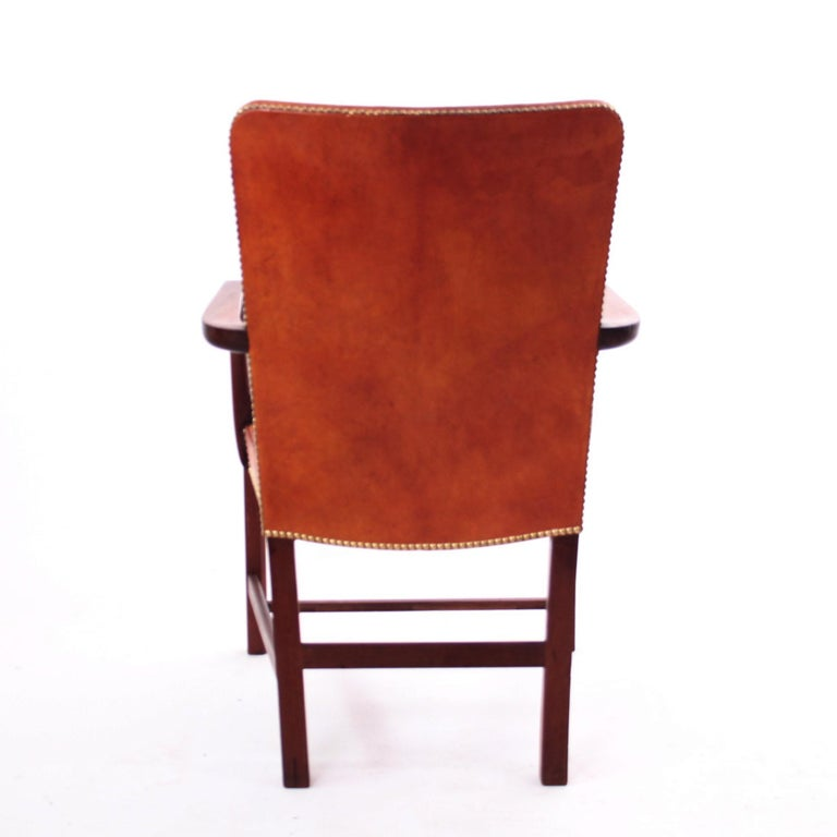 Pair of Kaare Klint 'Nørrevold' Armchairs in Patinated Niger Leather For Sale 3