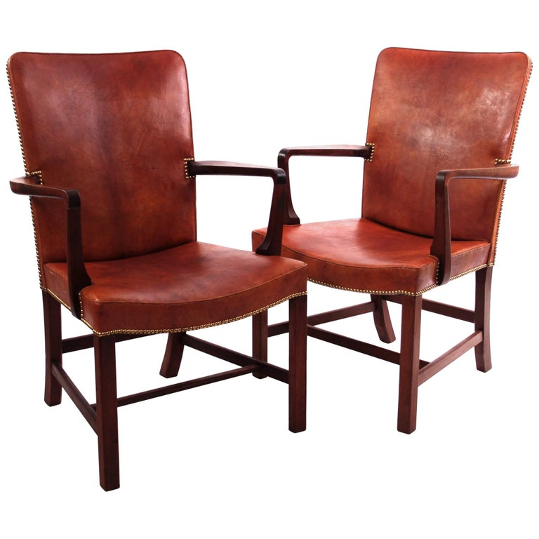 Pair of Kaare Klint 'Nørrevold' Armchairs in Patinated Niger Leather For Sale