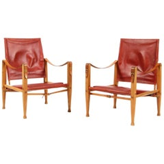 Pair of Kaare Klint Safari Chairs for Rud Rasmussen, Red Patinated Leather