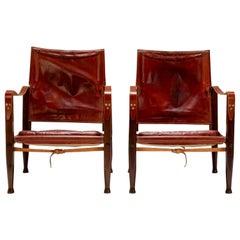 Pair of Kaare Klint Safari Chairs in Oxblood Leather, Denmark, 1950s