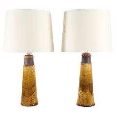 Pair of Kähler Ceramic Table Lamps with Amber-Colored Glaze Denmark Midcentury
