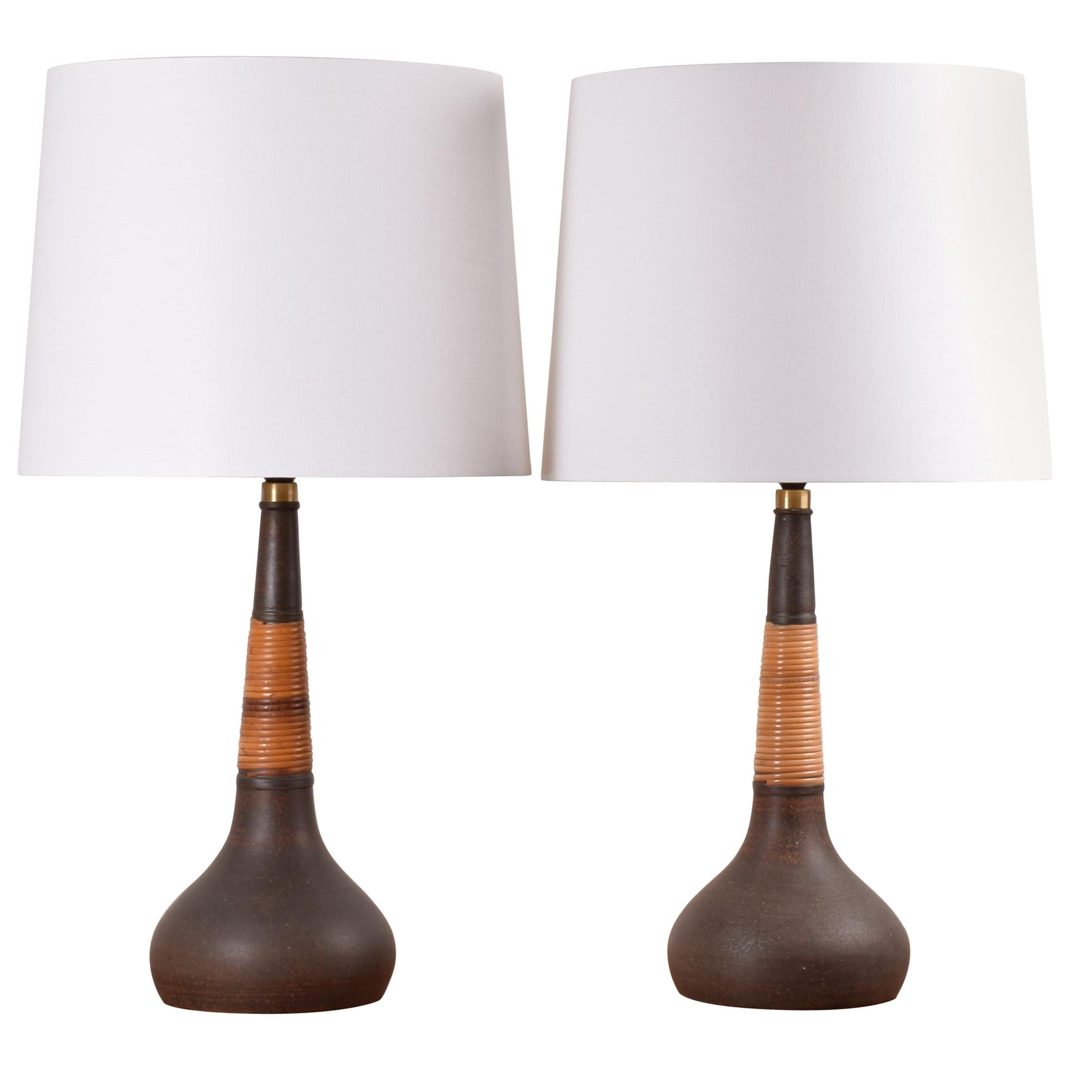 Pair of Kähler Le Klint Tall Table Lamps Brown with Cane Danish Midcentury 1960s