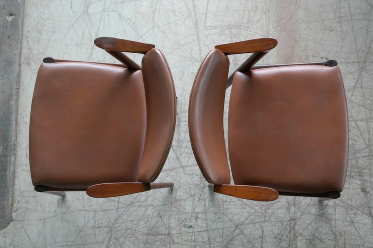 Danish Pair of Kai Kristiansen Model 42 Rosewood Dining Chairs and Brown Leather