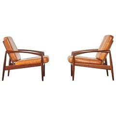 Pair of Kai Kristiansen Rosewood Paper Knife Chairs, Denmark, 1960s