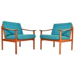 Pair of Kai Lyngfeldt Larsen Danish Modern Lounge Chairs in Teak by Soborg