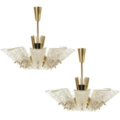 Pair of Kalmar Chandeliers, Brass Textured Glass, Vienna, 1960