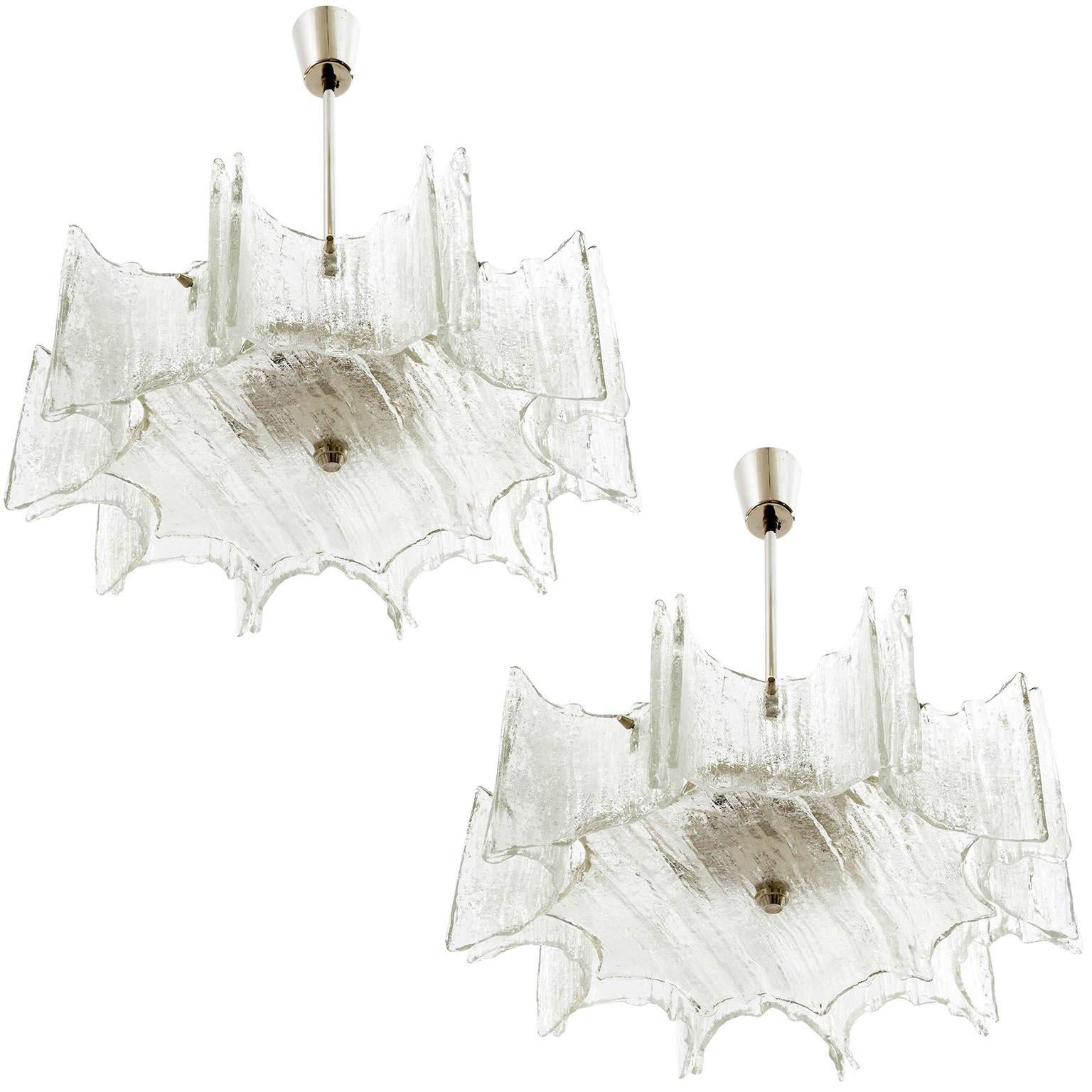 Pair of Kalmar Chandeliers, Glass Nickel, 1970