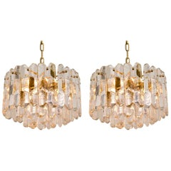 Pair of Kalmar Chandeliers or Pendant Lights 'Palazzo', Gilt Brass and Glass