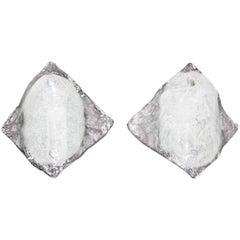 Pair of Kalmar Clear Opaque Glass Sconces