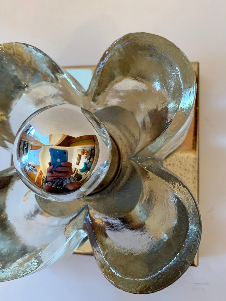Pair of Kalmar Floral 1970s Wall Lights For Sale 3
