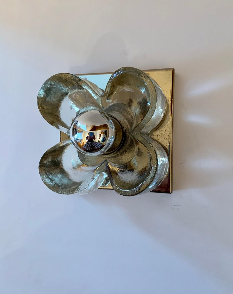 Mid-Century Modern Pair of Kalmar Floral 1970s Wall Lights For Sale