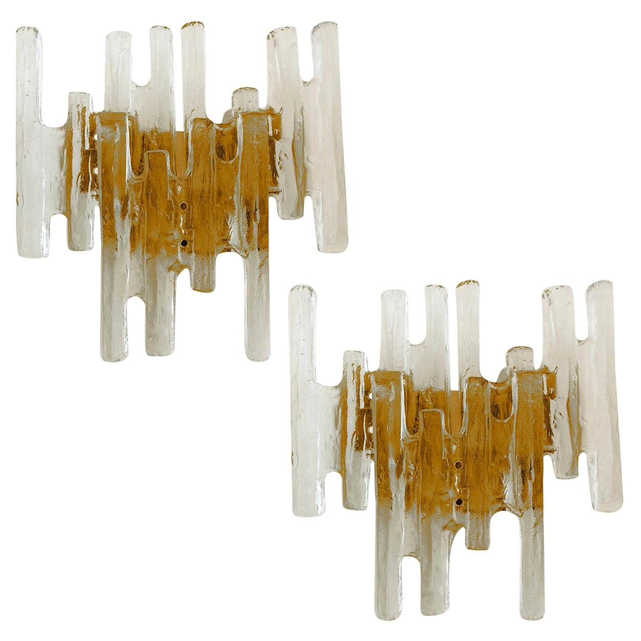 Pair of Kalmar Ice Glass Wall Sconce by J.T. Kalmar, Austria, 1970s