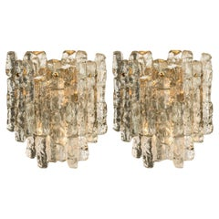 Pair of  Kalmar Ice Glass Wall Sconces 2 Tiers by J.T. Kalmar,  for Annette