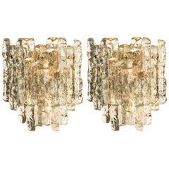 Pair of Kalmar Ice Glass Wall Sconces by J.T. Kalmar, Austria, 1970s