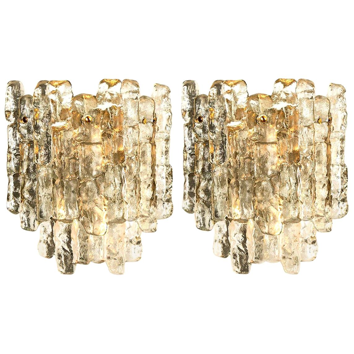 Pair of Kalmar Ice Glass Wall Sconces by J.T. Kalmar, Austria, 1970s
