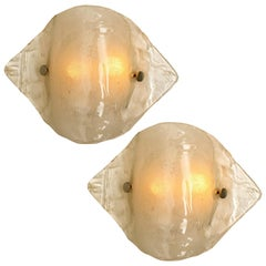 Pair of Kalmar Murano Opal Clear Glass Sconces or Wall Lights, 1970s