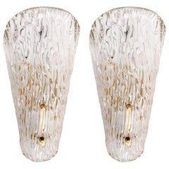Pair of Kalmar Sconces, Textured Glass Brass, 1960