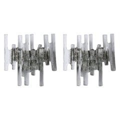 Pair of Kalmar Sconces Wall Lights 'Pan', Glass Nickel, Austria, 1970s