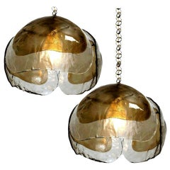 Pair of Kalmar Style Pendant Lights, Smoked Glass and Brass, 1970s